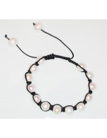 9 Shamballa Weiße Perlen 10 Mit Garn Mm Schwarzem Perlenarmband 80PknwO